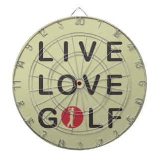 Live Love Golf Golfing Red Black Dartboard