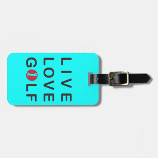 Live Love Golf Golfing Red Black Luggage Tag