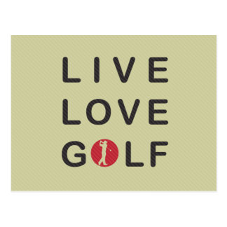 Live Love Golf Golfing Red Black Postcard