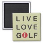 Live Love Golf Golfing Red Black Square Magnet