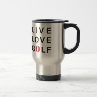 Live Love Golf Golfing Red Black Travel Mug