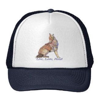 Live Love Howl Fun Quote Howling Coyotes Mesh Hat