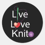 Live Love Knit Classic Round Sticker