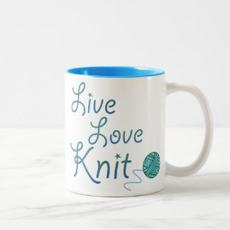 Live Love Knit for Knitters (darker version) Two-Tone Mug