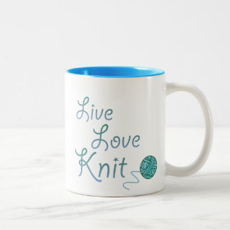 Live Love Knit for Knitters Two-Tone Coffee Mug