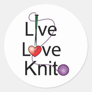 Live Love Knit Round Sticker