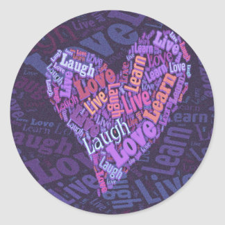 Live, Love, Laugh and Learn Classic Round Sticker