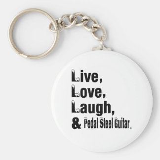 Live Love Laugh And Pedal Steel Guitar Basic Round Button Key Ring