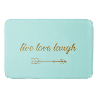Live Love Laugh Arrow Gold Glitter Sparkle Large Bath Mat
