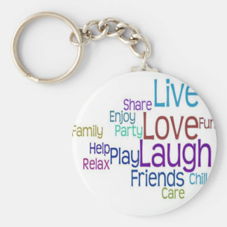 Live Love Laugh Basic Round Button Key Ring