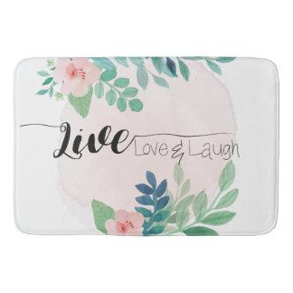 Live, Love, Laugh Boho Floral | Bath Mat Bath Mats