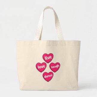 live love laugh dance jumbo tote bag