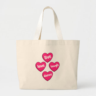 live love laugh dance large tote bag