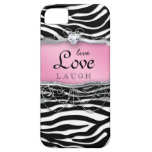 Live Love Laugh iPhone Case Cover Zebra Pink Heart iPhone 5 Cases