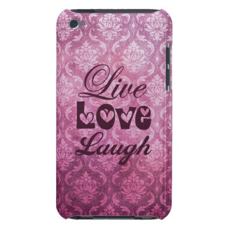 Live Love Laugh Pink Damask Patern Barely There iPod Covers