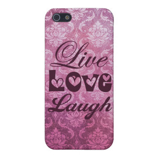 Live Love Laugh Pink Damask Patern Case For iPhone 5