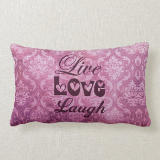 Live Love Laugh Pink Damask Pattern Pillow