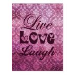 Live Love Laugh Pink Damask Pattern Postcard