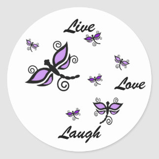 Live, Love, Laugh, purple digital art dragonflies Classic Round Sticker