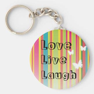 Live  Love Laugh Rainbow Stripe Butterfly Keychain
