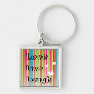Live  Love Laugh Rainbow Stripe Butterfly Keychain