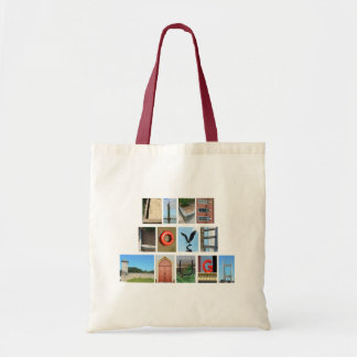 LIVE LOVE LAUGH Spelled out with picture letters Budget Tote Bag