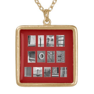 LIVE LOVE LAUGH Spelled out with picture letters Square Pendant Necklace