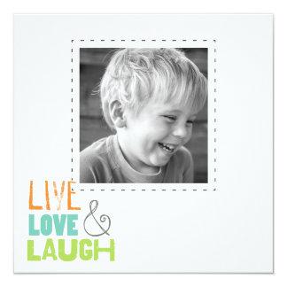 live love laugh square photo cards 13 cm x 13 cm square invitation card
