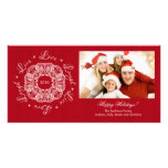 Live Love Laugh Vintage Ornament Holiday PhotoCard Customised Photo Card
