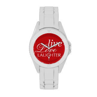 Live Love Laughter red white inspirational quote Watches