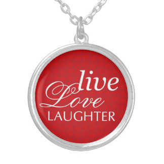 Live love laughter words red heart round pendant necklace