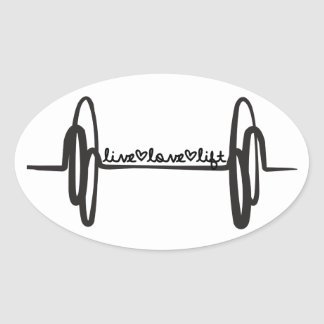 Live Love Lift Bar Black Oval Sticker