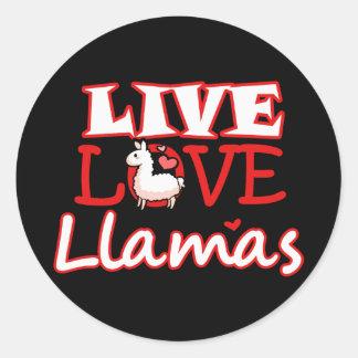 Live, Love, Llamas Classic Round Sticker