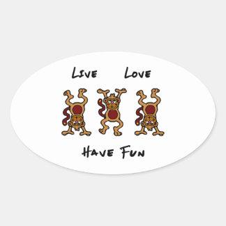 Live Love Monkey Oval Sticker