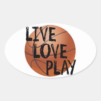 Live, Love, Play Basketball Oval Sticker