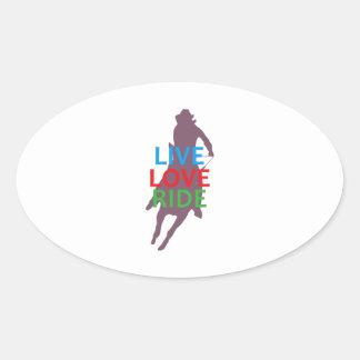 LIVE LOVE RIDE OVAL STICKER