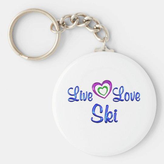 Live Love Ski Basic Round Button Key Ring
