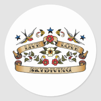 Live Love Skydiving Classic Round Sticker