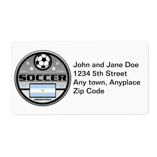 Live Love Soccer Argentina Shipping Label
