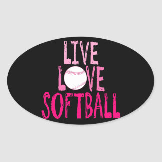 Live, Love, Softball Oval Sticker