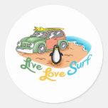 LIVE LOVE SURF ROUND STICKER