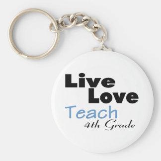 Live Love Teach 4th Grade (blue) Basic Round Button Key Ring
