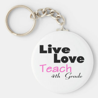 Live Love Teach 4th Grade (pink) Basic Round Button Key Ring