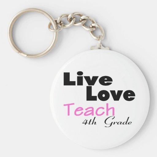 Live Love Teach 4th Grade (pink) Keychains