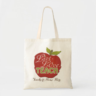 Live. Love. Teach | Personalized Teacher Gift Budget Tote Bag