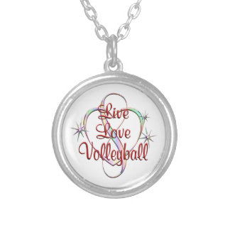 Live Love Volleyball Silver Plated Necklace