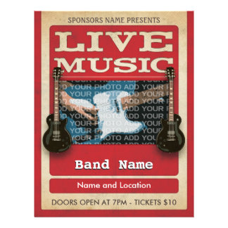 Live Music Band Photo Red 21.5 Cm X 28 Cm Flyer