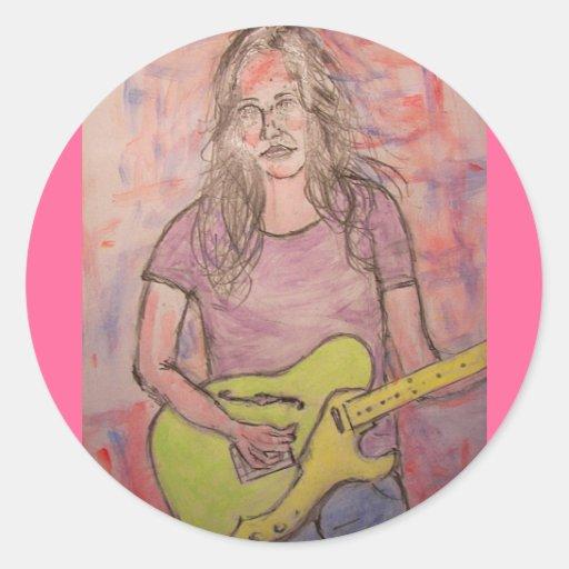 Live Music Girl Sketch Round Sticker
