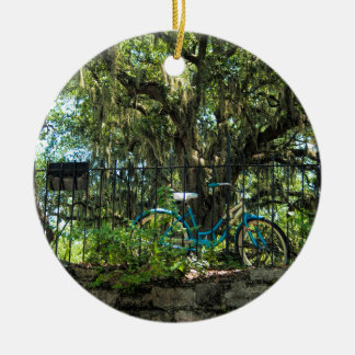 Live Oak Tree and Classic Bicycle Christmas Ornament