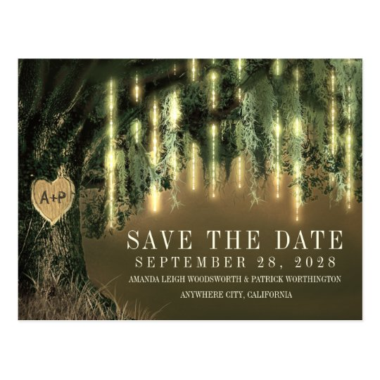 Live Oak Tree Spanish Moss Save The Date Cards